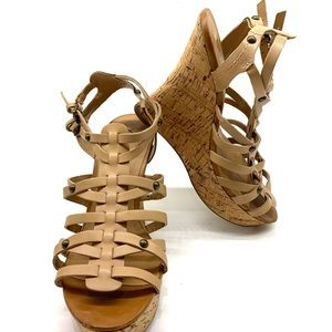 Guess Tan Strappy Cork Wedge Sandals 7.5